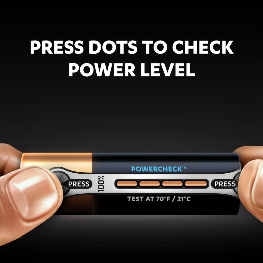Duracell Ultra battery uses unique Powercheck technology that lets you test the remaining power in each battery