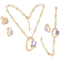 FC Beauty Premium Series Jewelry Sets Women 18k Gold Plated Necklace+ Earrings + Bracelet + Ring Set | zomorod