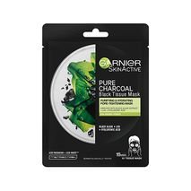 Garnier Skin Active Black Tissue Mask  Pure Charcoal Purifying and Hydrating 28g-Zomorod.com