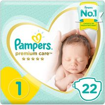 Pampers Premium care Diapers, Size 1, Newborn, 2-5 kg, Carry Pack, 22 Count-Zomorod.com