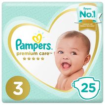 Pampers Premium Care Diapers, Size 3, Midi, 6-10 kg, Mid Pack, 25 Count-Zomorod.com