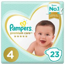 Pampers Premium Care Diapers, Size 4, Maxi, 9-14 kg, Mid Pack, 23 Count-Zomorod.com