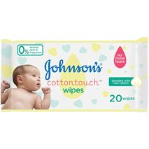 JOHNSON'S Newborn Baby Wipes - CottonTouch, Extra Sensitive Free of alcohol, dyes and fragrance, Pack of 20 wipes