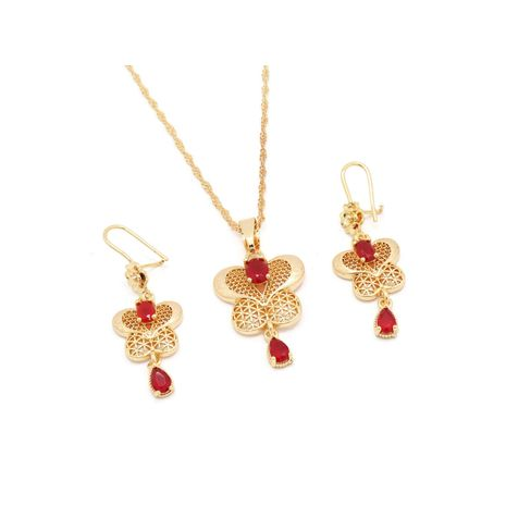 Fc beauty 18k gold plated butterfly fashion necklace and ear ring set | zomorod