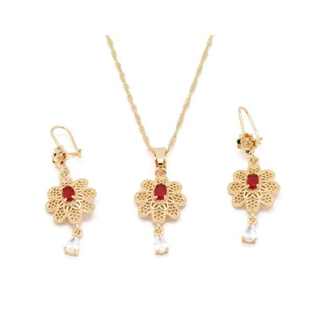 FC Beauty the Red stone blooming flower Locket necklace and ear ring set with 18kt gold plated locket | zomorod