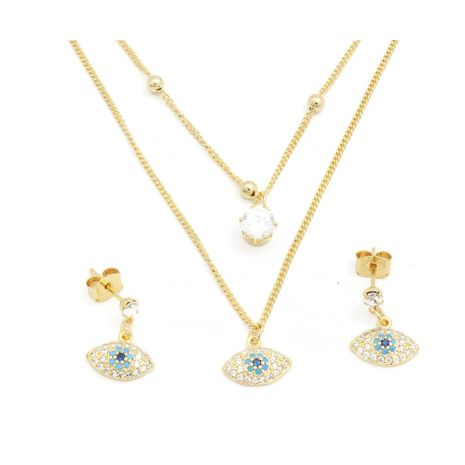 Fc beauty 18k gold plated double layered necklace and ear ring set | zomorod