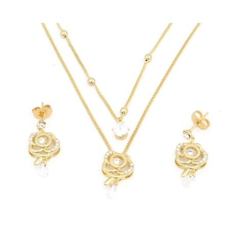 Fc beauty 18k gold plated double layered necklace and ear ring set   zomorod
