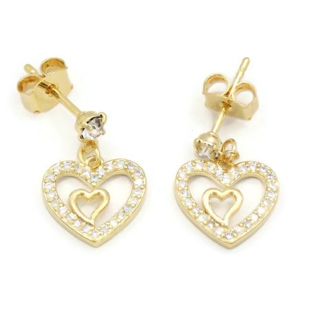 FC BEAUTY 18K GOLD PLATED HEART FASHION DOUBLES LAYERED NECKLACE AND EAR RING SET | zomorod