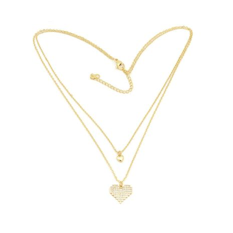 Fc collection THE CLASSIC DUAL HEART DOUBLE CHAIN NECKALCE STUDDED LOCKET PLATED IN 18KT | zomorod