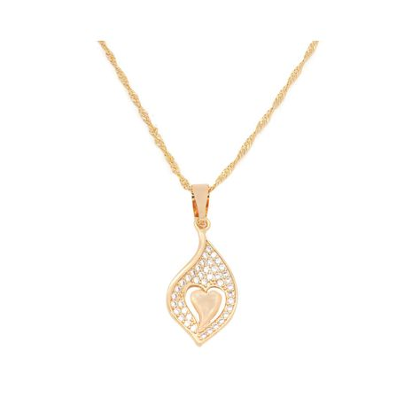 Fc collection The Classic Heart in leaf style studded locket plated in 18kt copper based metal | Zomorod