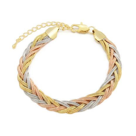 FC COLLECTION The elegant multi-color braided necklace set with gold, copper and silver braids |zomorod
