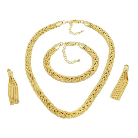 FC COLLECTION The elegant Gold braided necklace set with gold, copper and silver braids | zomorod