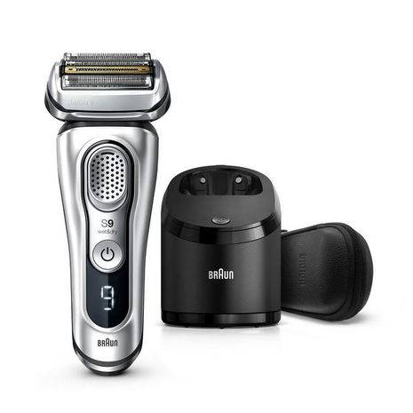 Braun Series 9- 9390cc Wet & Dry shaver with Clean & Charge station and leather travel case, silver-Zomorod.com