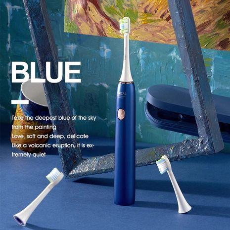Electric Toothbrush Blue Adult Rechargeable Toothbrush IPX7 Waterproof Automatic Ultrasonic Tooth Brush Van Gogh-Zomorod.com