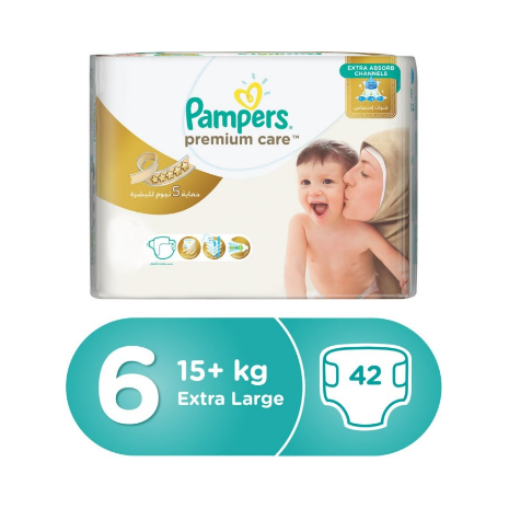 Pampers Premium Care Extra Large Diapers, Size 6, Jumbo Pack - 15+ Kg, 42 Count-Zomorod.com