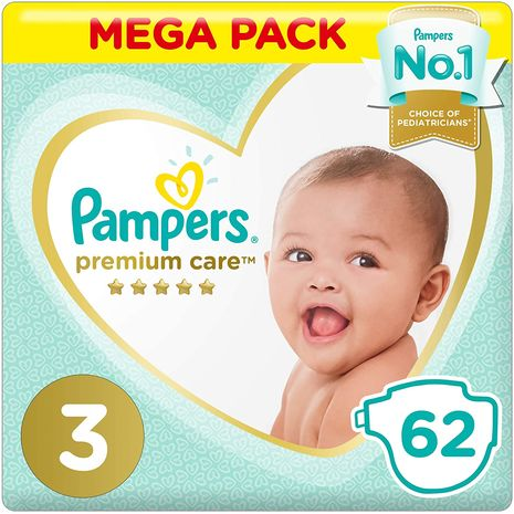 Pampers Premium care Diapers, Size 3, Midi, 5-9 kg, Value Pack, 62 Count-Zomorod.com