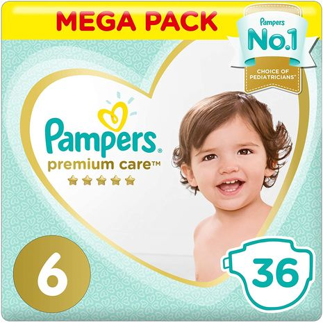 Pampers Premium care Diapers, Size 6, Extra Large, 13+ kg, Value Pack, 36 Count-Zomorod.com