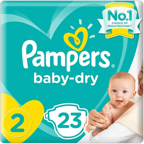 Pampers New Baby-Dry Diapers, Size 2, Mini, 3-6kg, Carry Pack, 23 Count-Zomorod.com