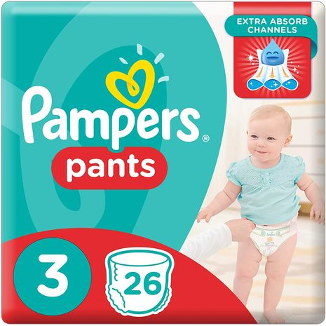 Pampers Pants Diapers, Size 3, Midi, 6-11 kg, Carry Pack, 26 Count-Zomorod.com