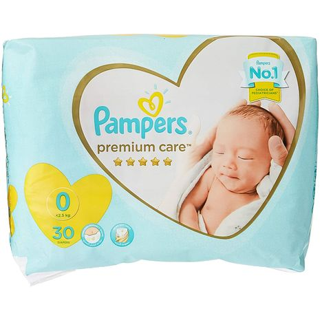 Pampers Premium care Diapers, Size 0, Newborn, 2,5 kg, Carry Pack, 30 Count-Zomorod.com