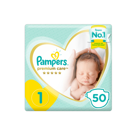 Pampers Premium Care Diapers, Size 1, Newborn, 2-5 kg, Mid Pack, 50 Count-Zomorod.com