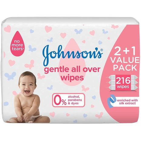 JOHNSON'S Baby Wipes - Gentle All Over, Free from Parabens & dyes, 2+1 packs of 72 wipes, 216 total count