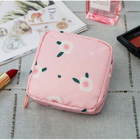 Mini Solid Color Pink Stripe Cosmetic Bag