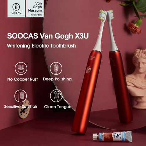 Electric Toothbrush Red Color for Adults Rechargeable Toothbrush Waterproof Automatic Ultrasonic Tooth Brush Van Gogh